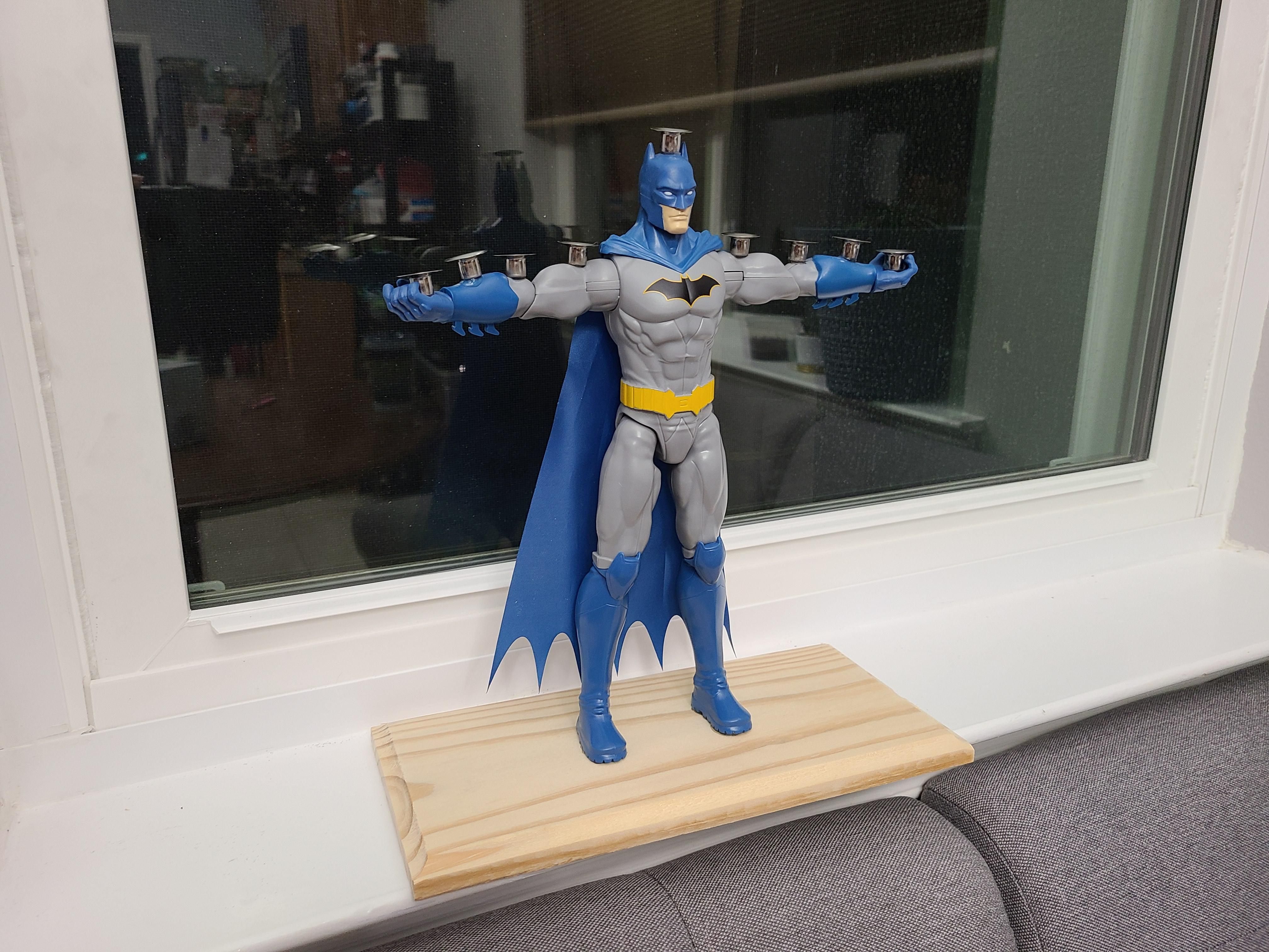 """Every year I try to make a new menorah. I present this year's addition """"Batmanorah"""""""