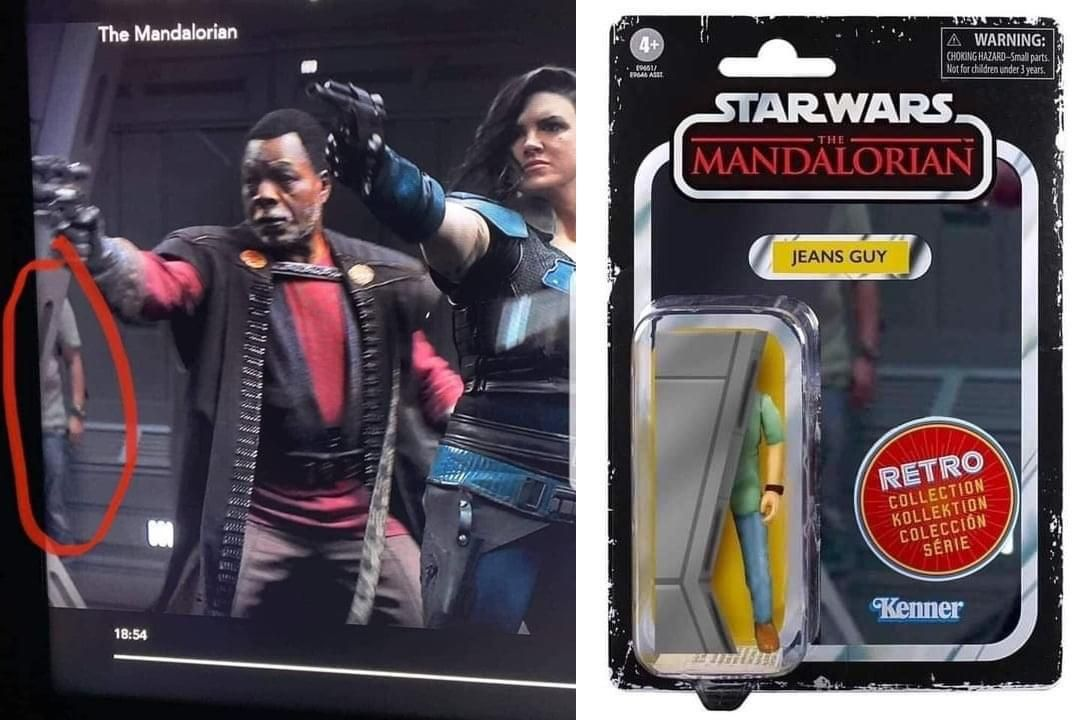 This toy figurine based on the mandalorians on screen mishap