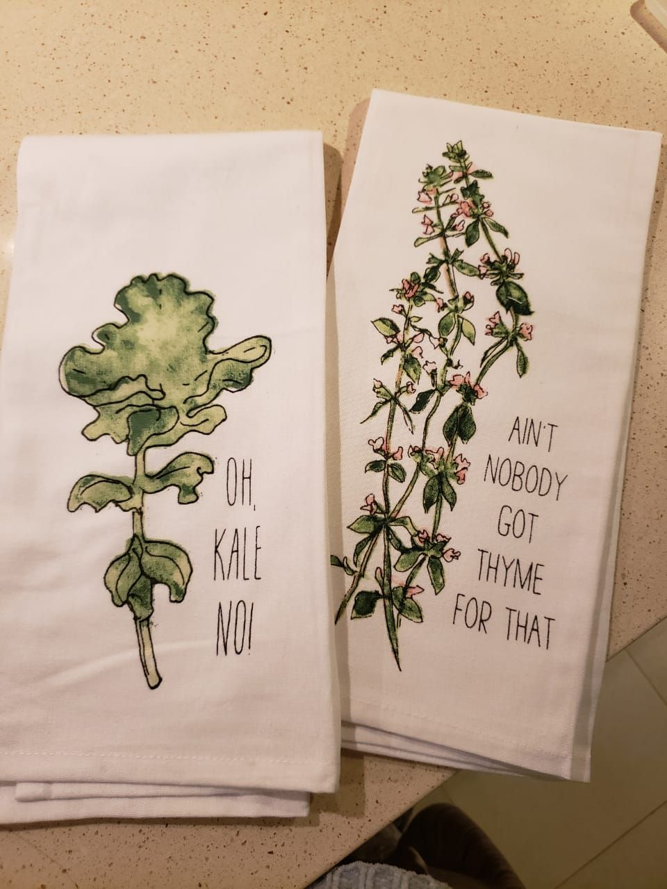 My mom bought some new kitchen towels