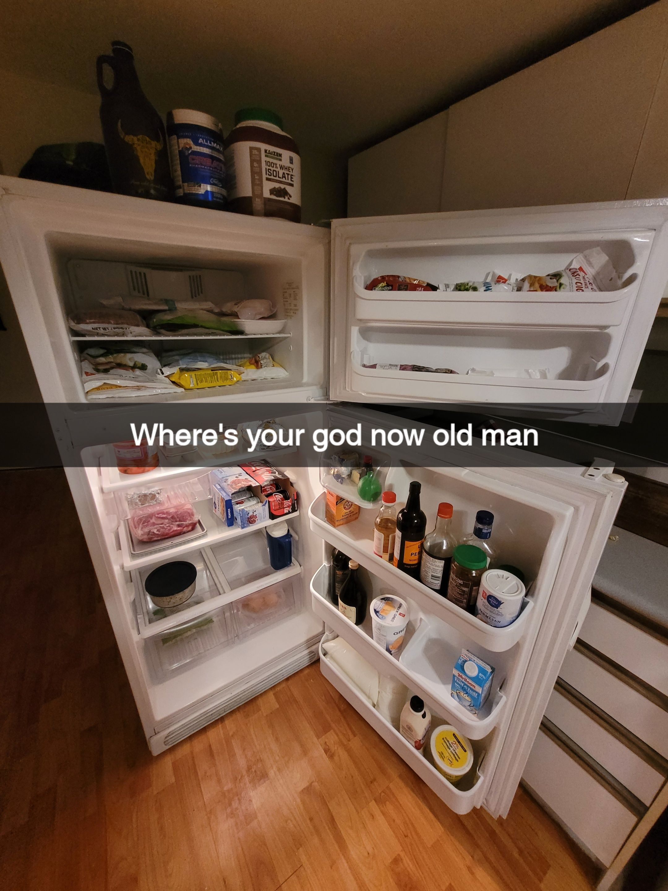 I send my father pictures of a wide open fridge to give him anxiety