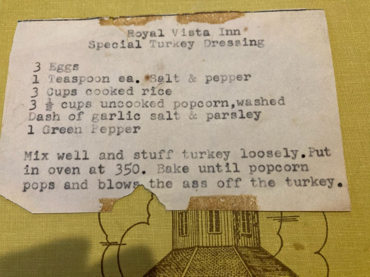 Going through my wife's grandmother's recipe file..