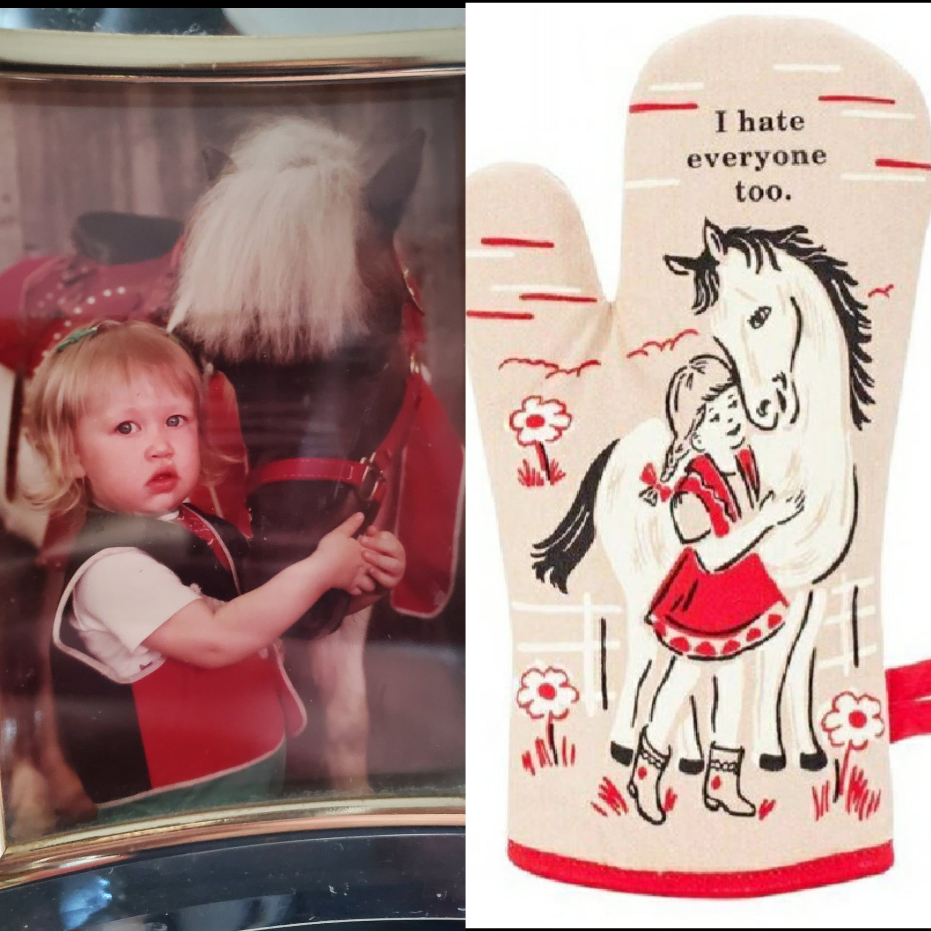 A childhood picture of me vs an oven mitt ad I got on facebook today