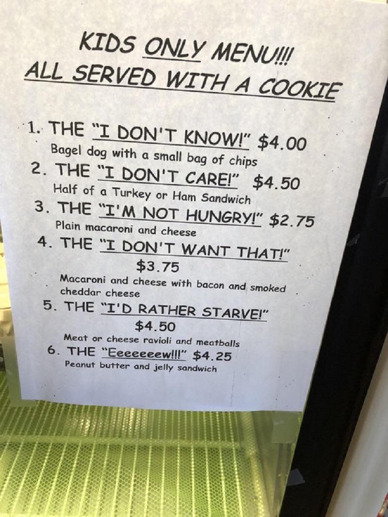 This restaurant's menu for kids