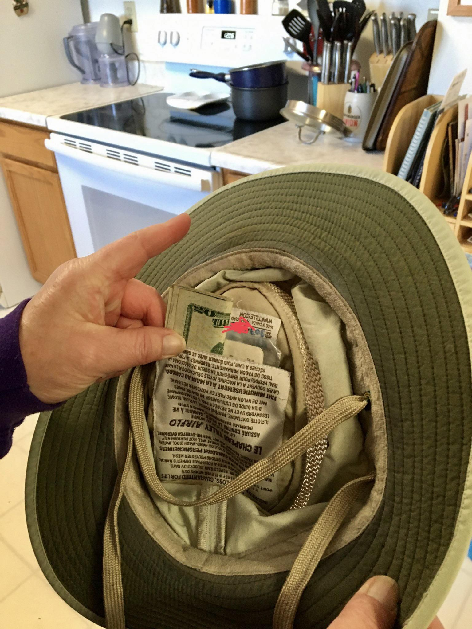 Only inheritance from dad: 100 bucks stashed in a stolen fishing hat.