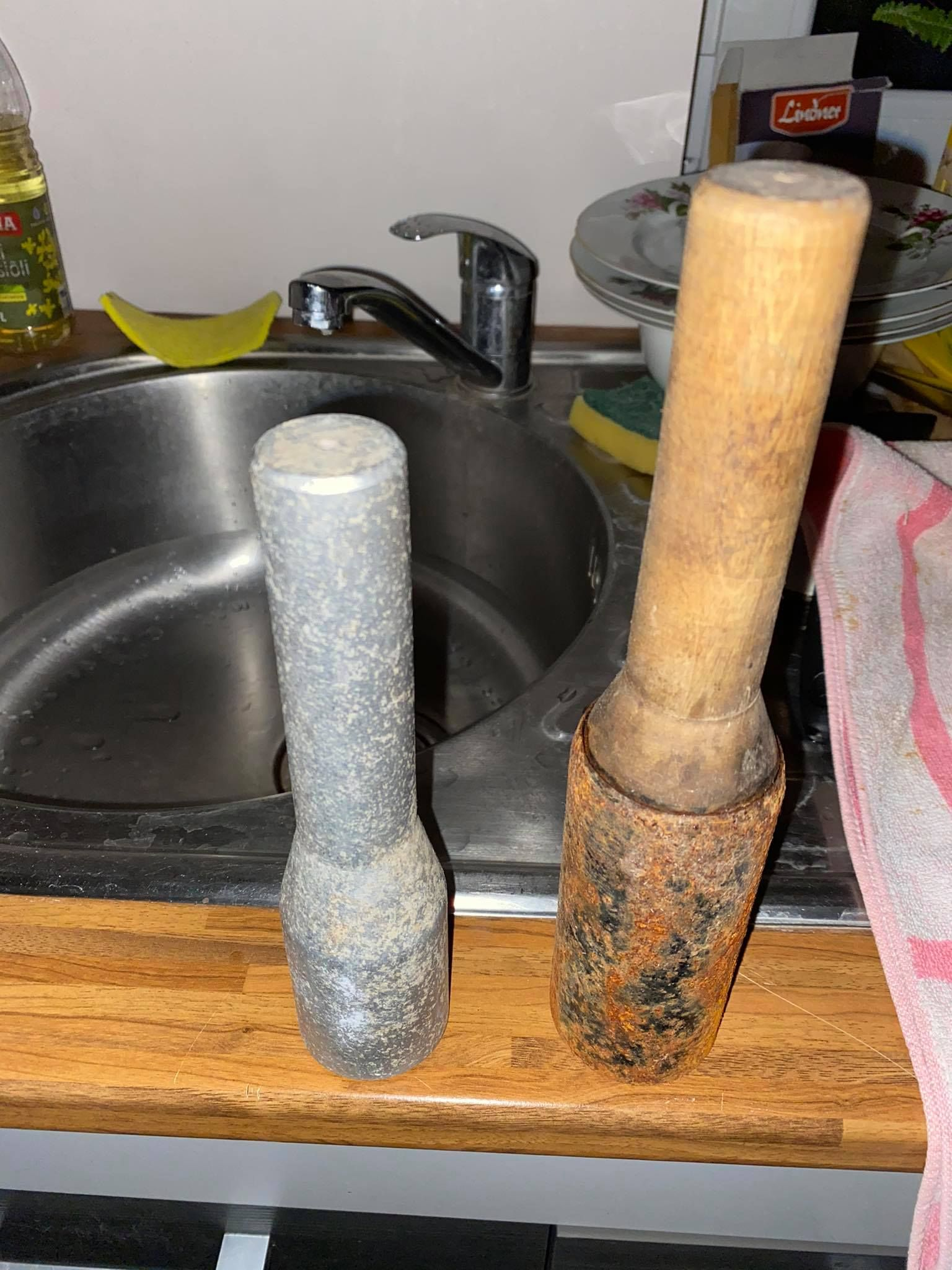 """Shoutout to my mom who very kindly brought me """"dumbells"""" from the basement and even washed them so I could work out at home with weights - turns out these are old Soviet-era hand grenades"""