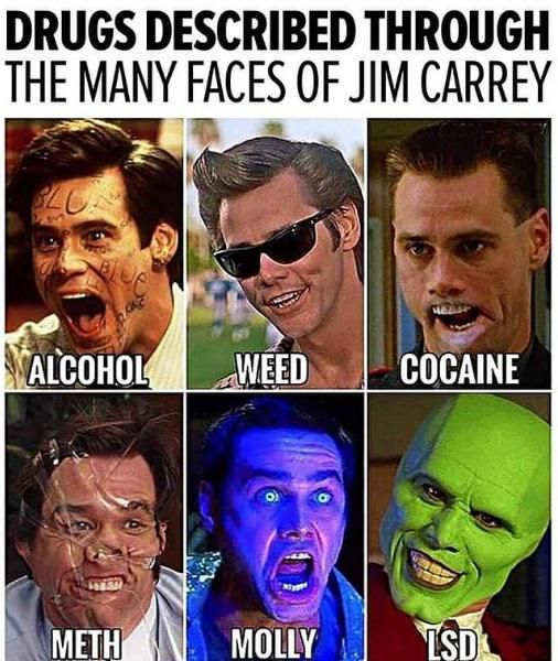Drugs Described Through The Many Faces Of Jim Carrey