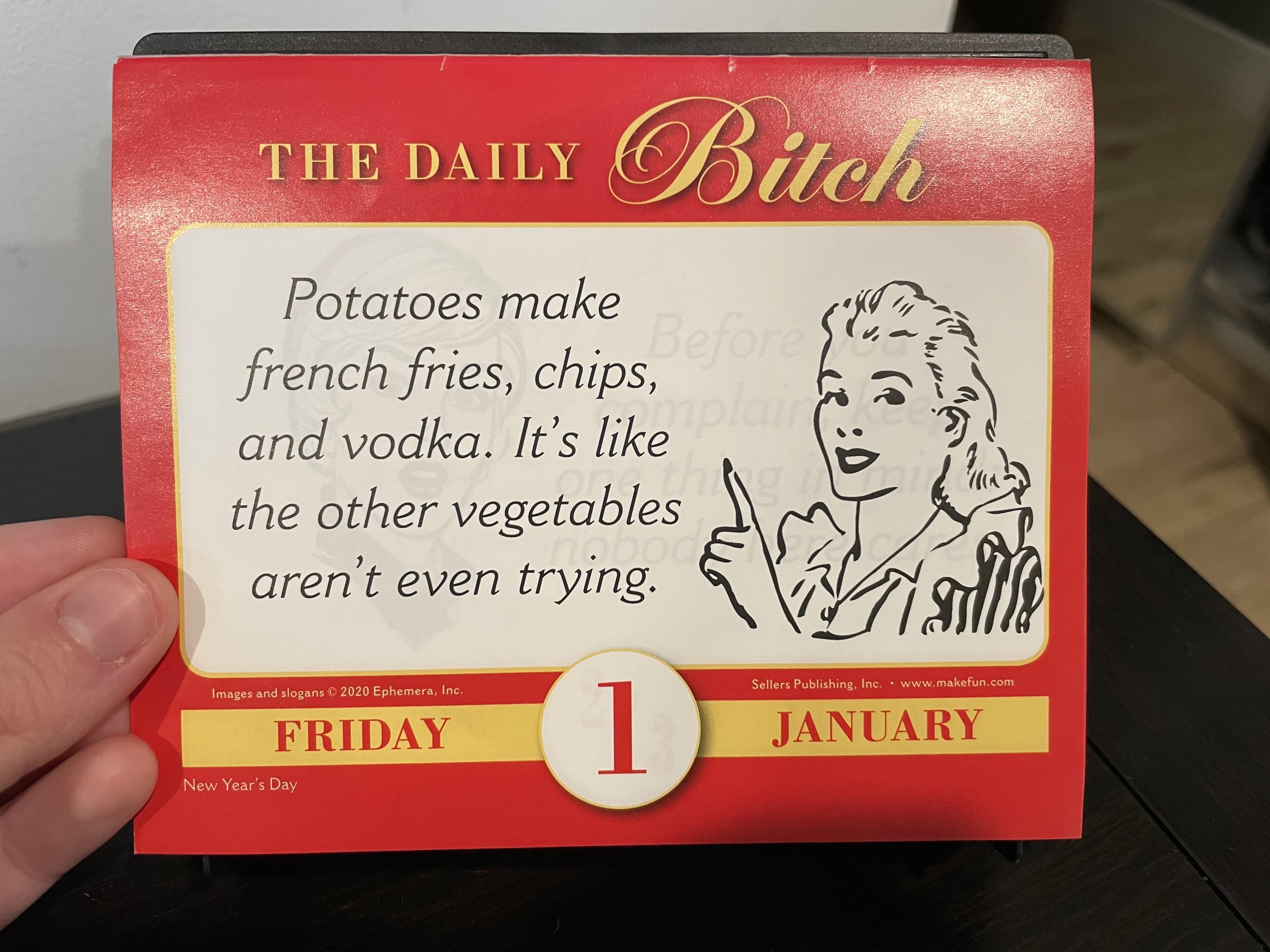 For 2021 I got myself a calendar with daily *** quotes. Here's to day one!