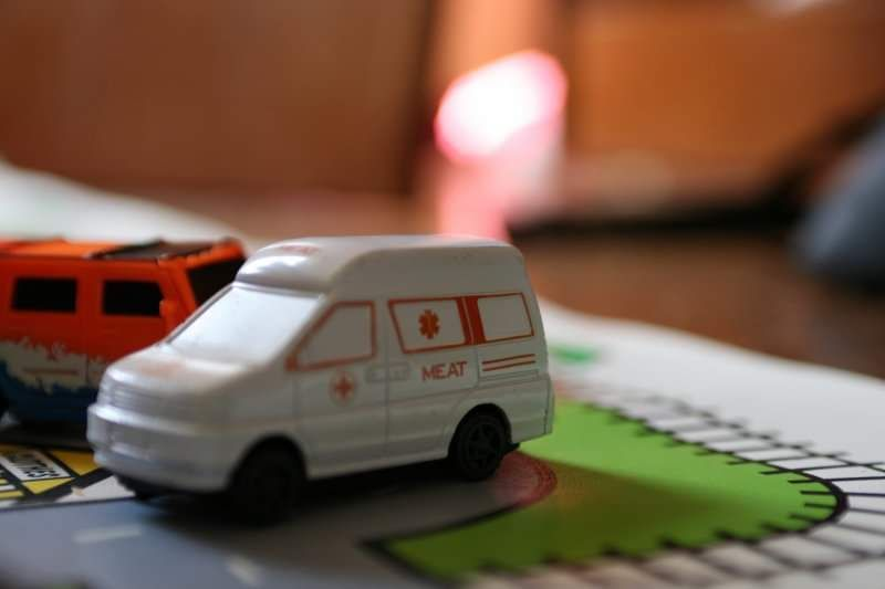 This ambulance my son got in a pack of toy cars... Ted Bundy must own the company