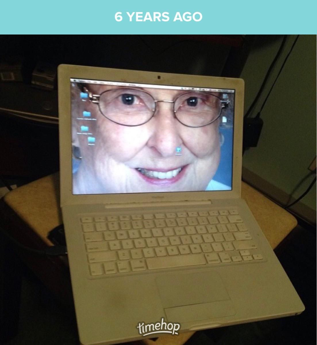 6 years ago today I changed my parents computer background to my Grandmom's face. They couldn't figure out how to change it, so it lasted up until it died last year
