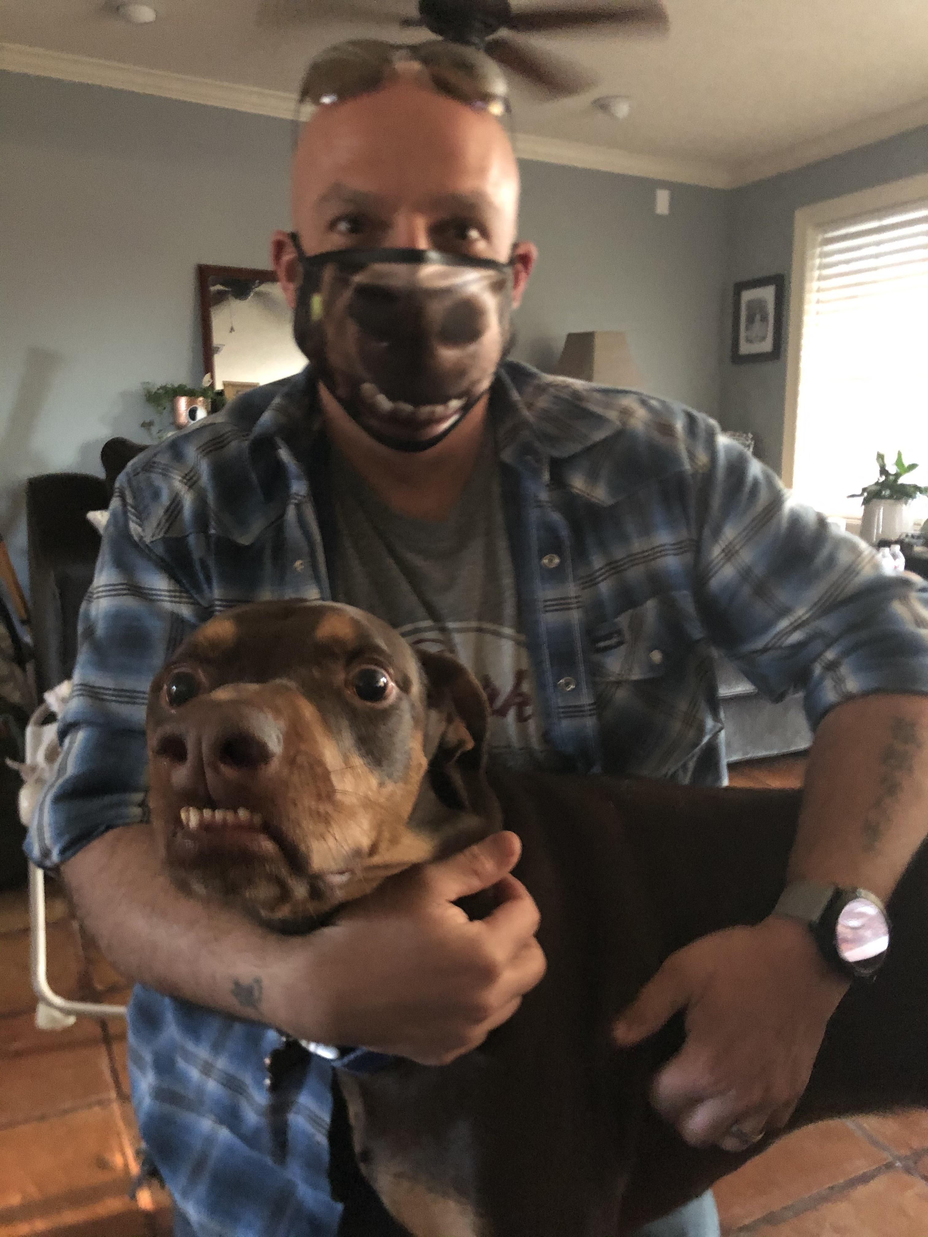 Wife got me a mask with my boy's face on it. Not sure whether funny or scary.