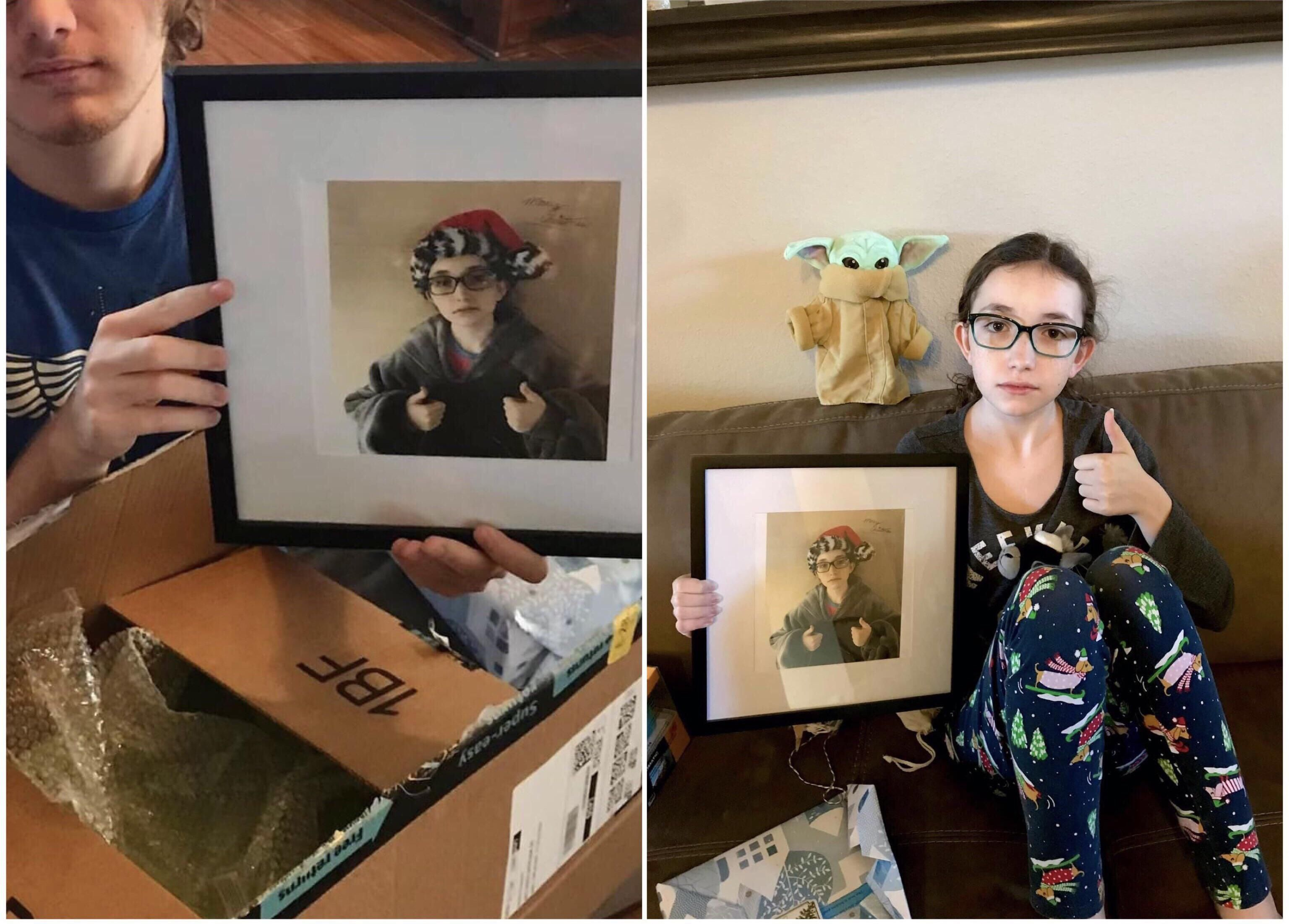 My daughter gave my son a signed picture of herself for Christmas.