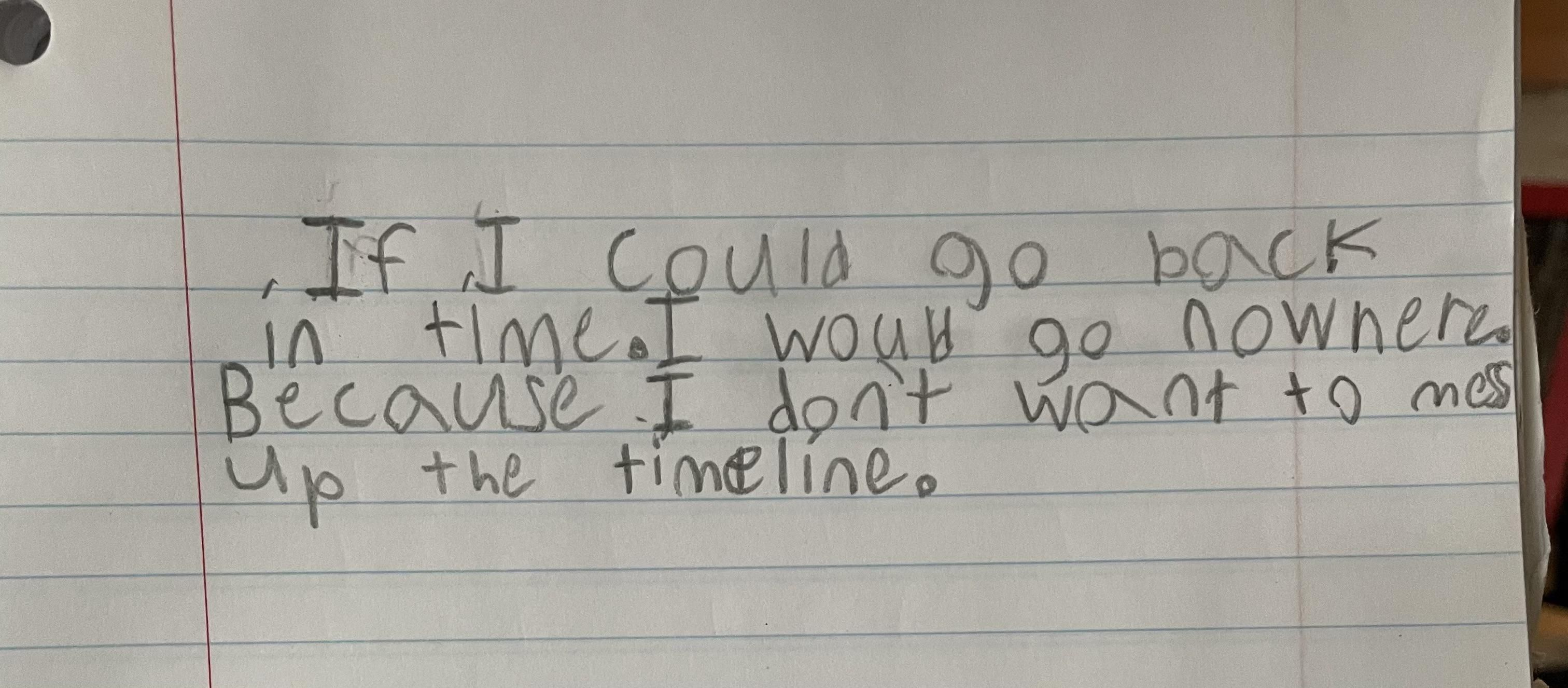 A 4th graders answer to, where or when would you go if you could time travel back in time?
