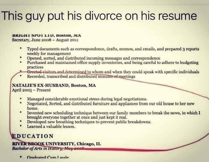 This guy put his divorce on his resume