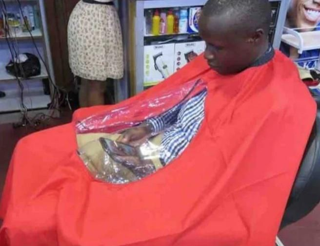 The barber has a degree in customer care.