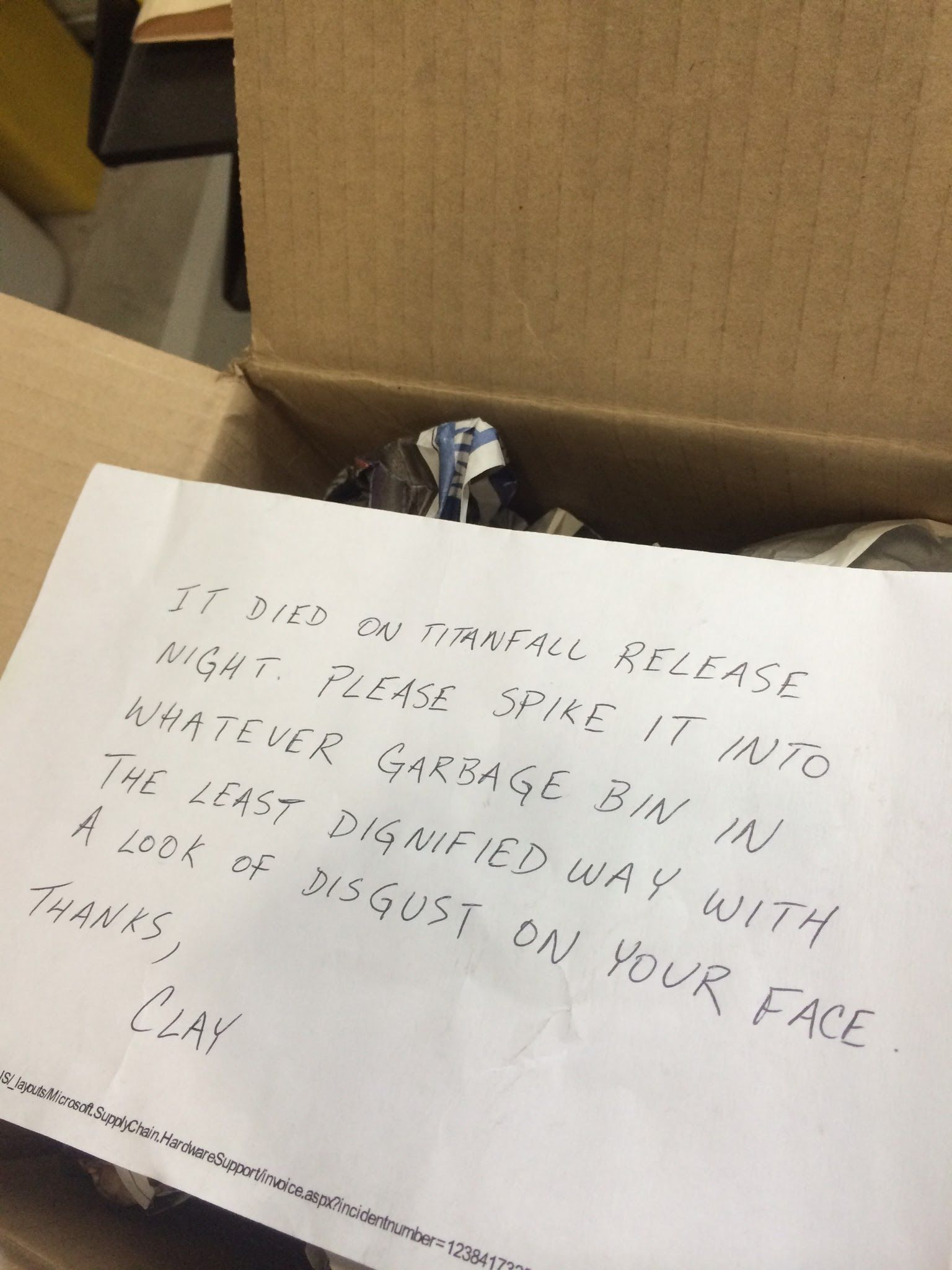 I worked in Microsoft returns a few years ago. Someone left this in the returns box.