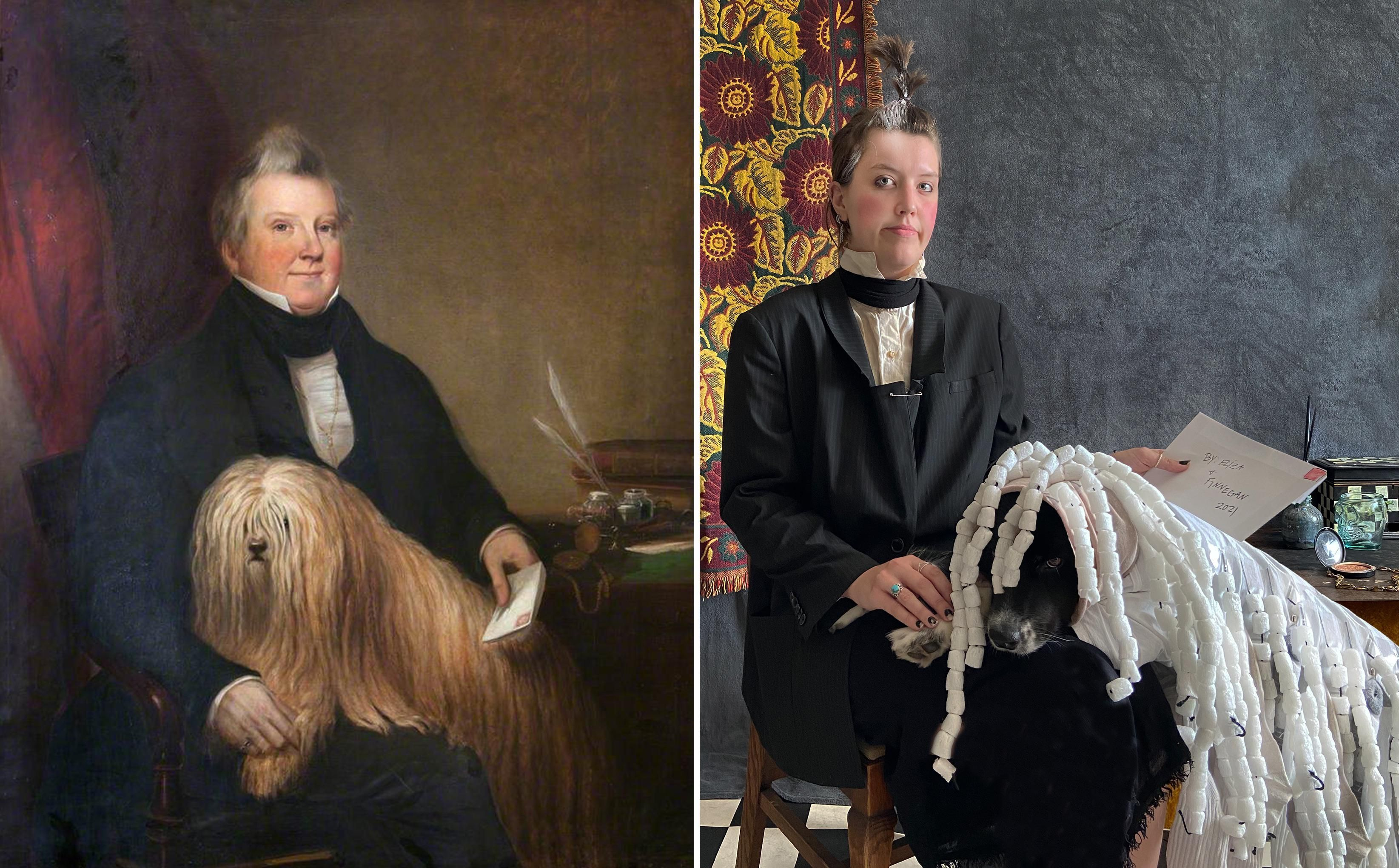 This is Finn, the Australian Shepherd & we recreate famous artworks together every day! Enjoy!
