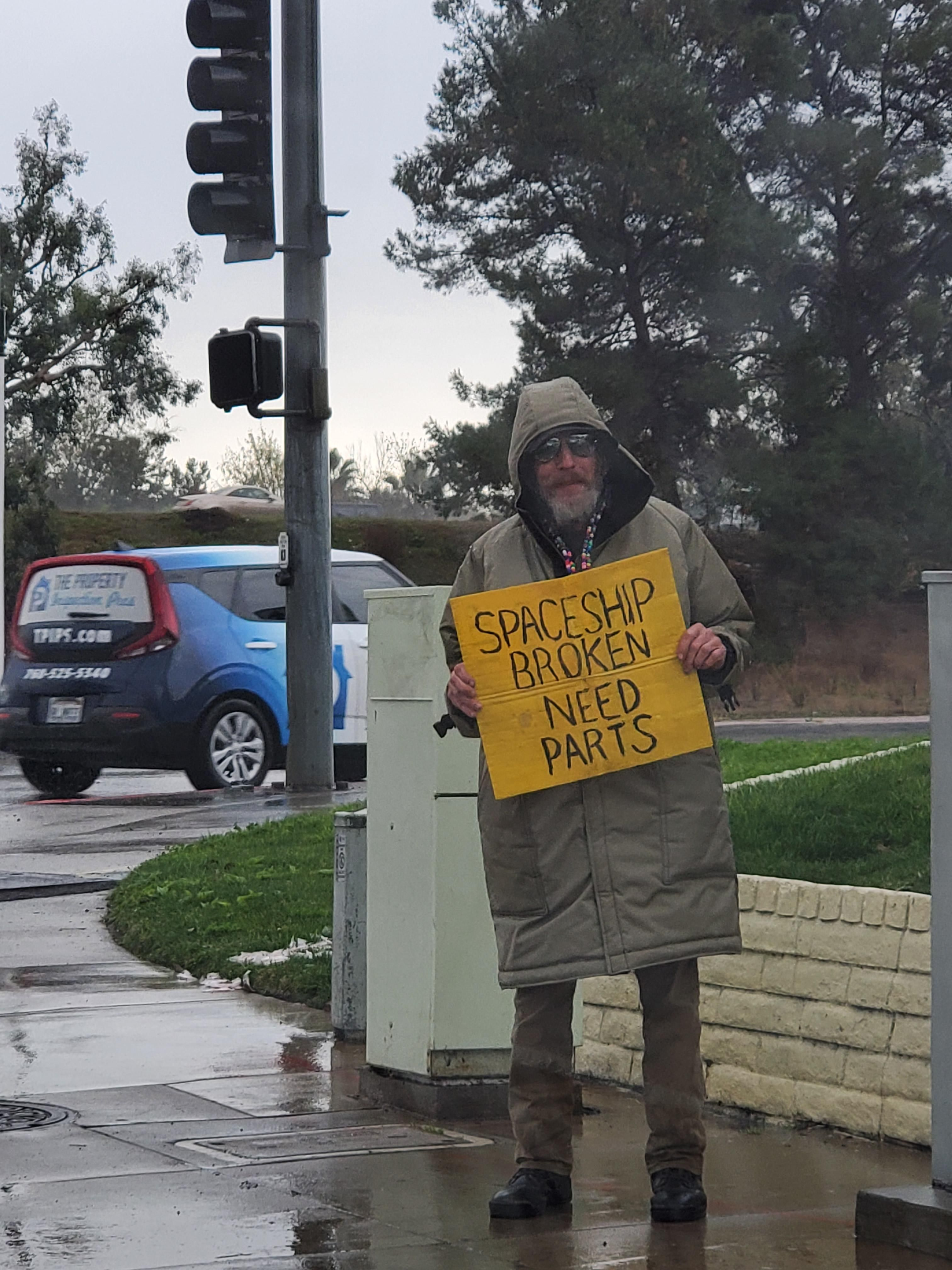 Homeless man in SD, California