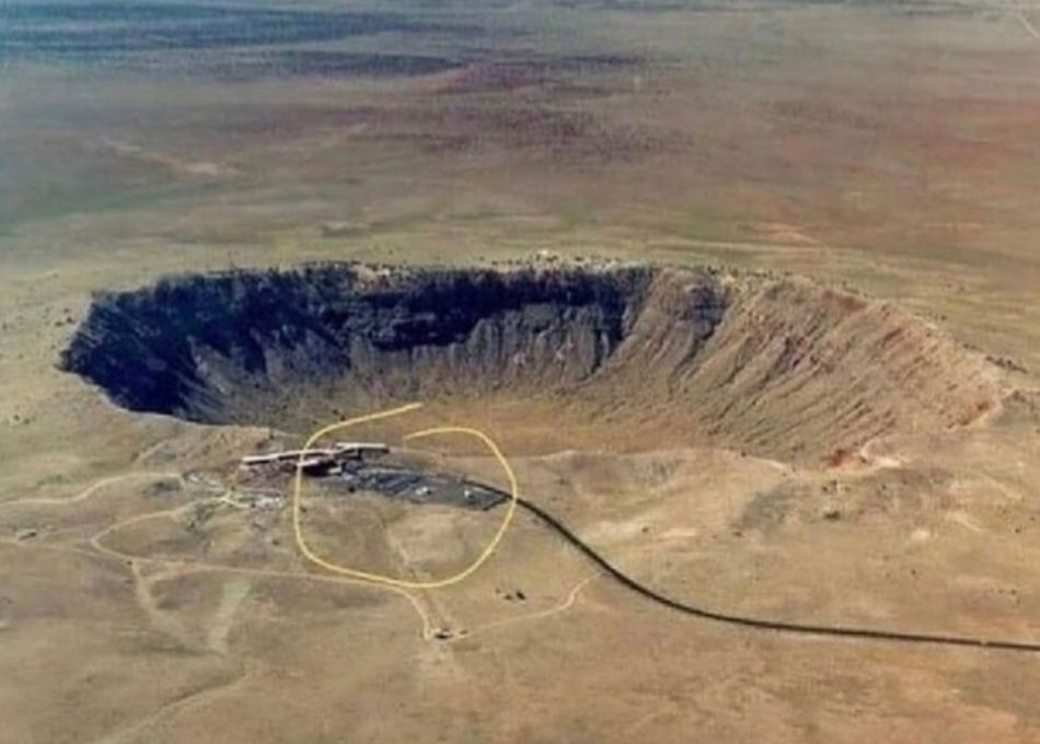 This is a large meteor crater in Arizona. It missed the visitors' center by only a few feet.