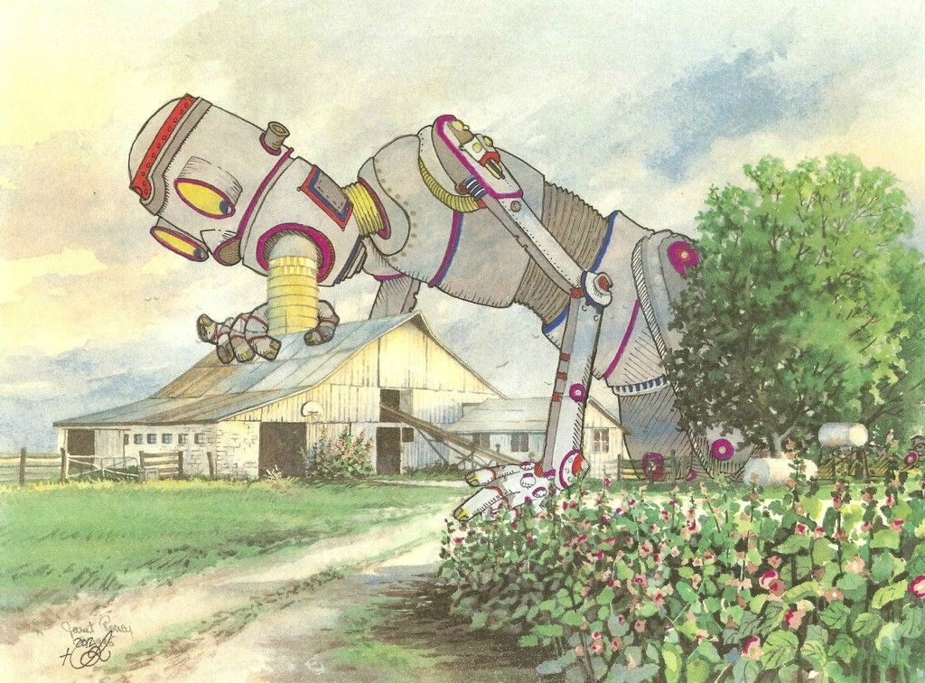 I buy thrift store paintings and add my own painting to them. Here is a Robot, with a design flaw, recharging itself on corn oil.