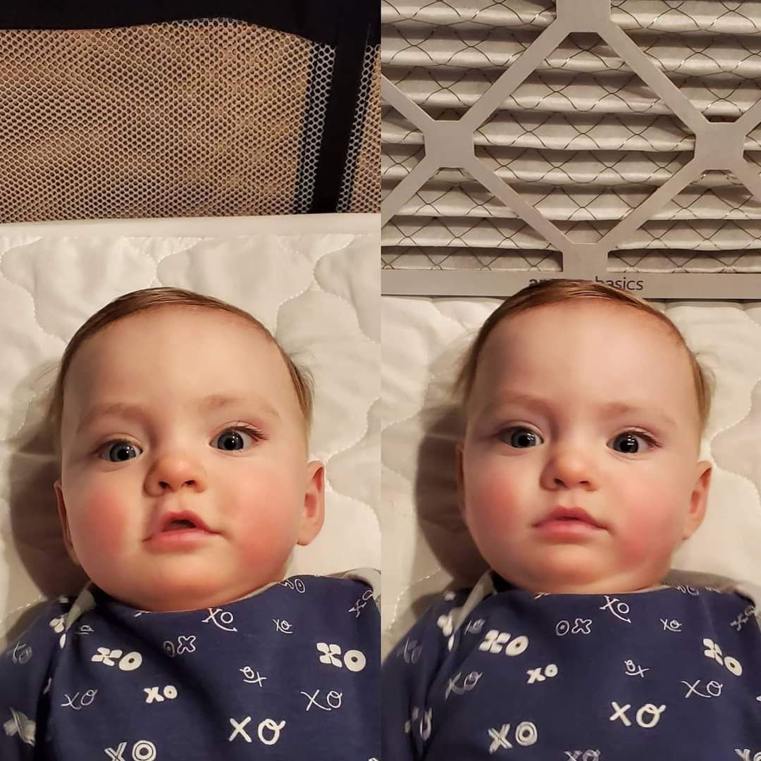 My son without a filter and my son with a filter