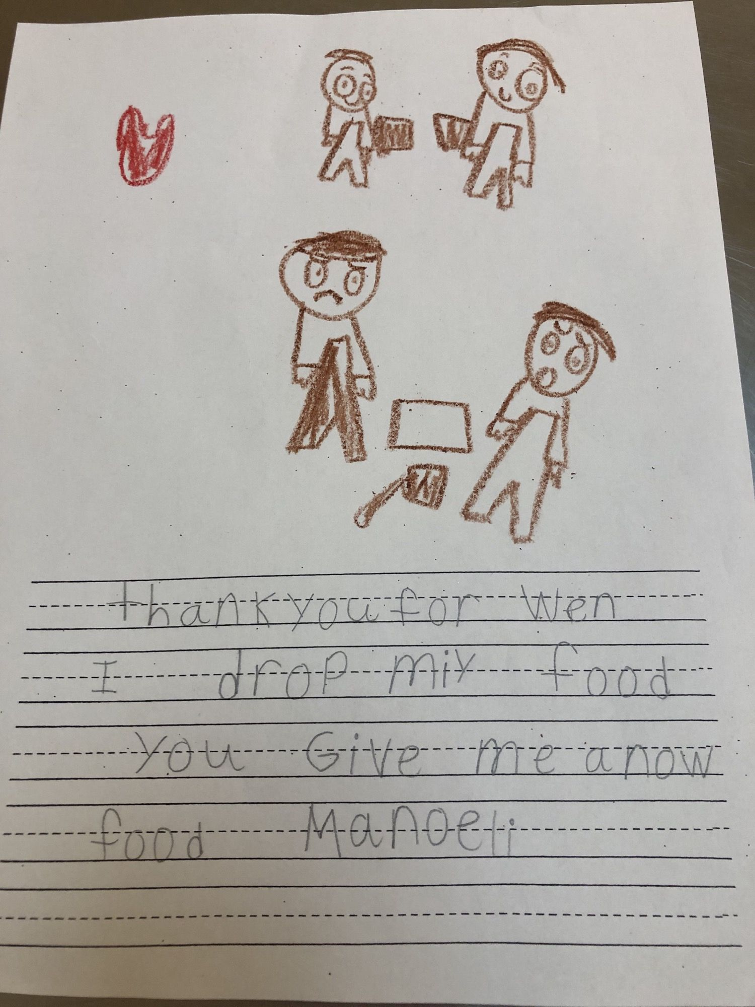I'm a lunch lady. Today the first graders gave us some letters to thank us for serving them food. This one was my favorite.