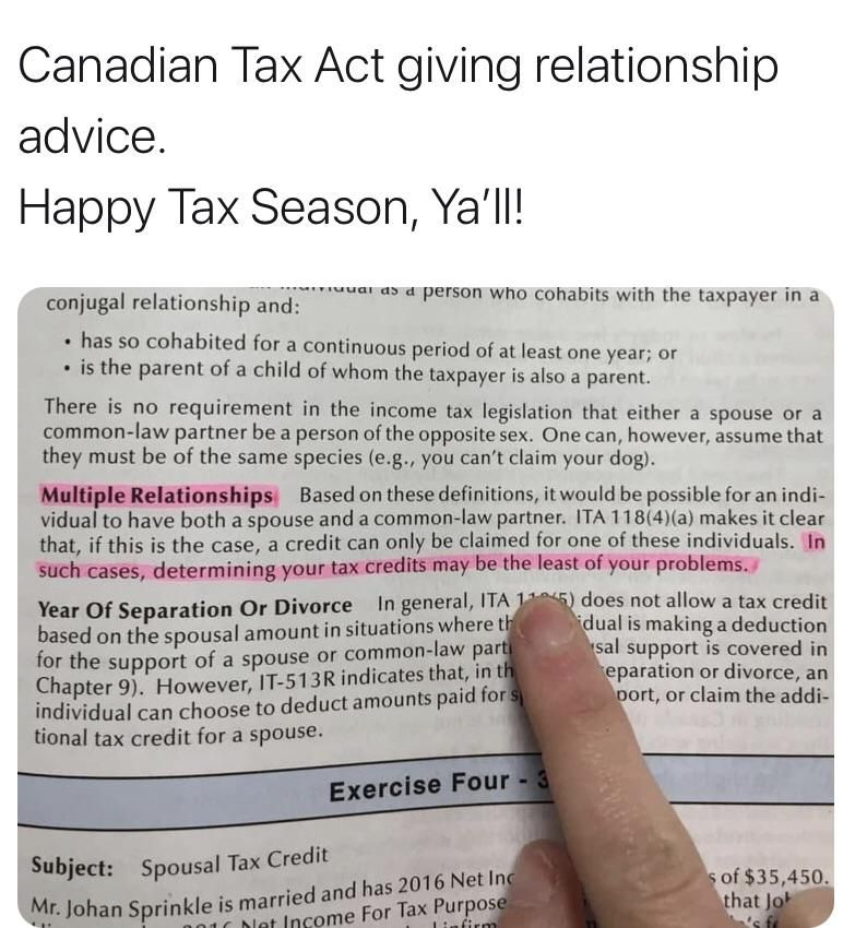 Not sure if this goes here...Canada Revenue Agency 2020 Tax Manual