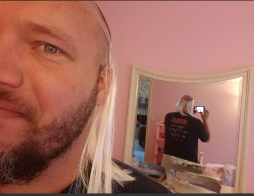 Stole my daughters hair extensions. Now I got a fresh new skullet, brother!