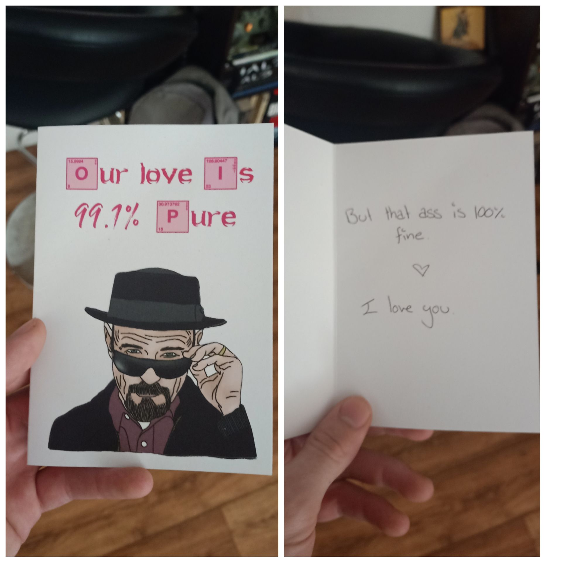 Valentine's Day card my girlfriend gave me this year gave me a chuckle