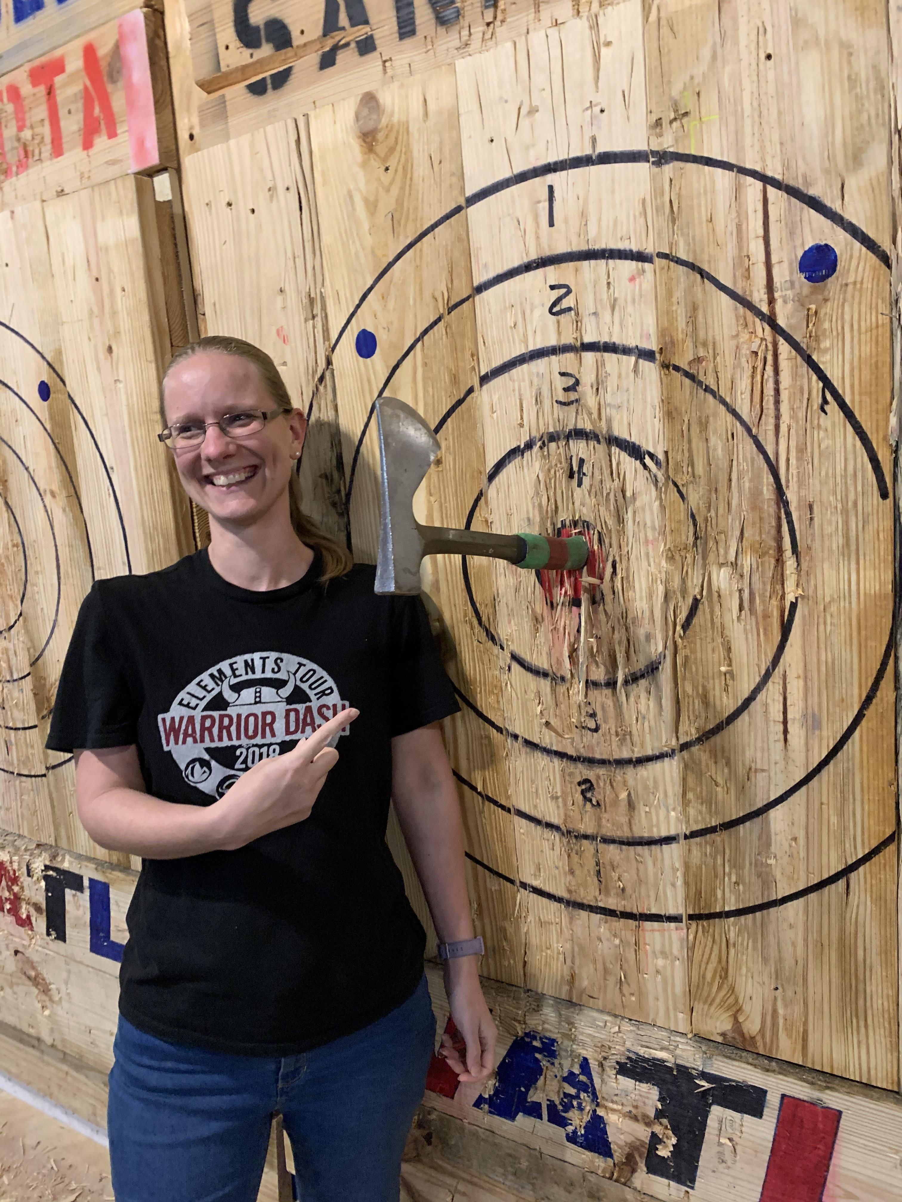 My wife does a great job throwing axes also