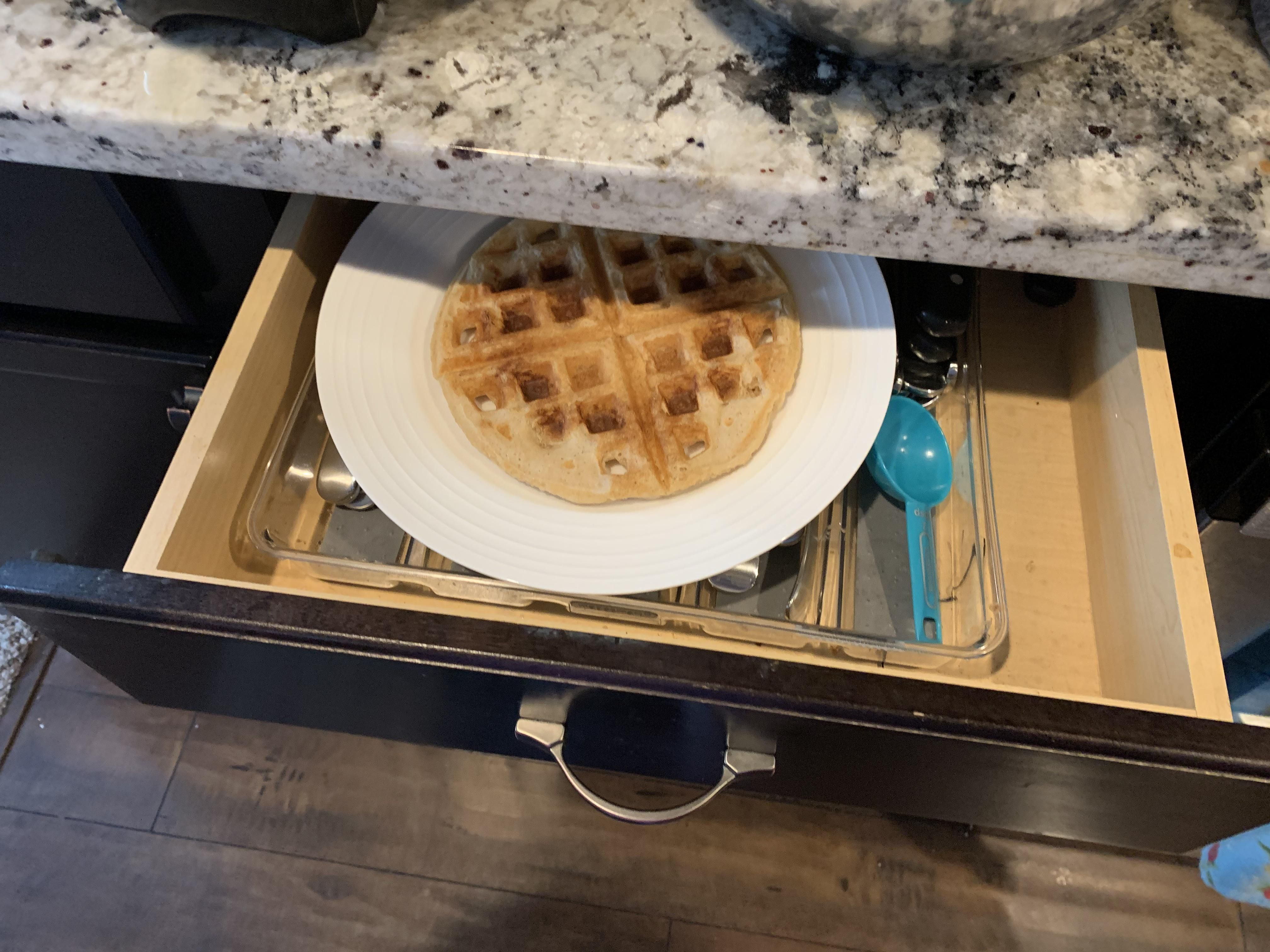 My mom swore she already made me a waffle, but we couldn't find it. So she made another one and I grabbed a fork....