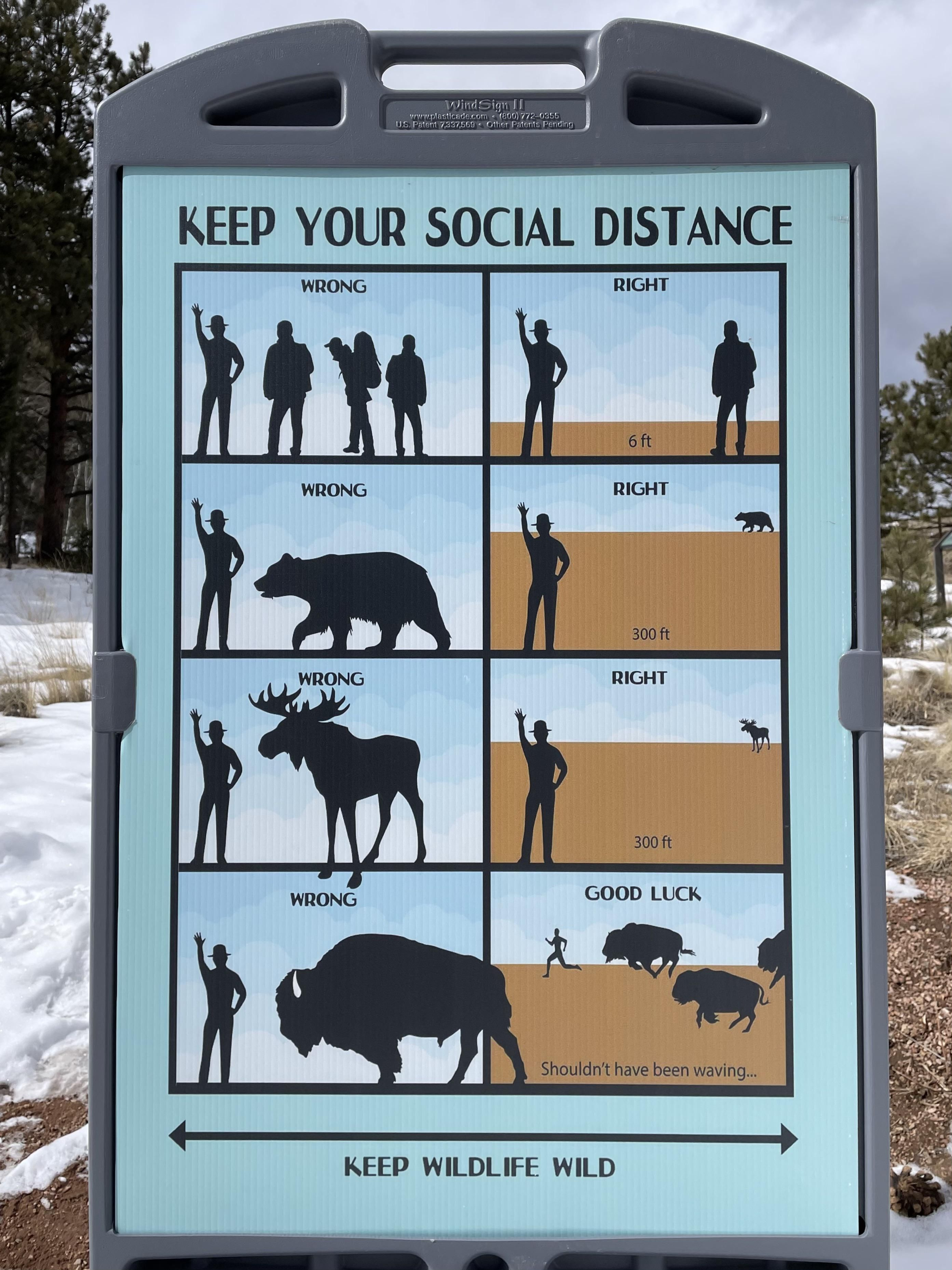 Funny National Park Social Distancing Sign