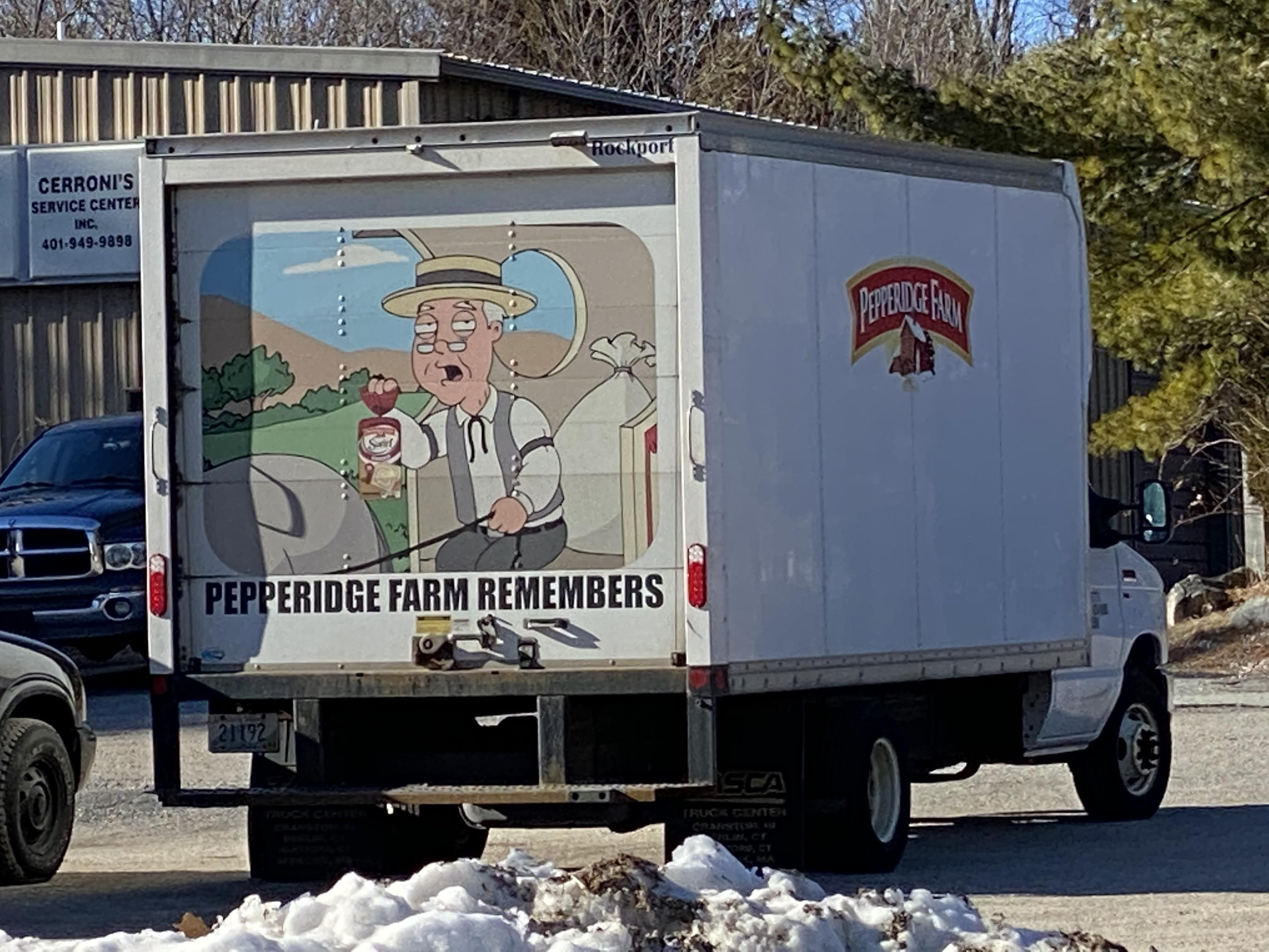 The back of an ACTUAL Pepperidge Farms truck.