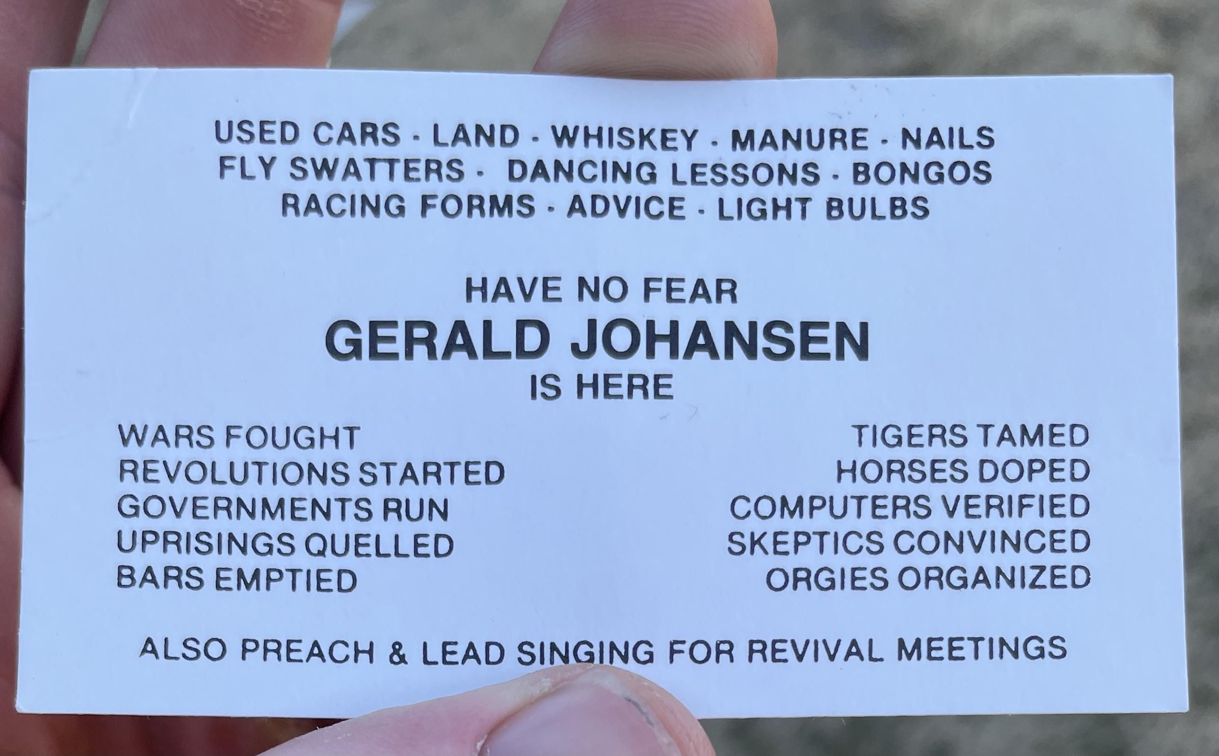 I found a box of these business cards in my friends basement.