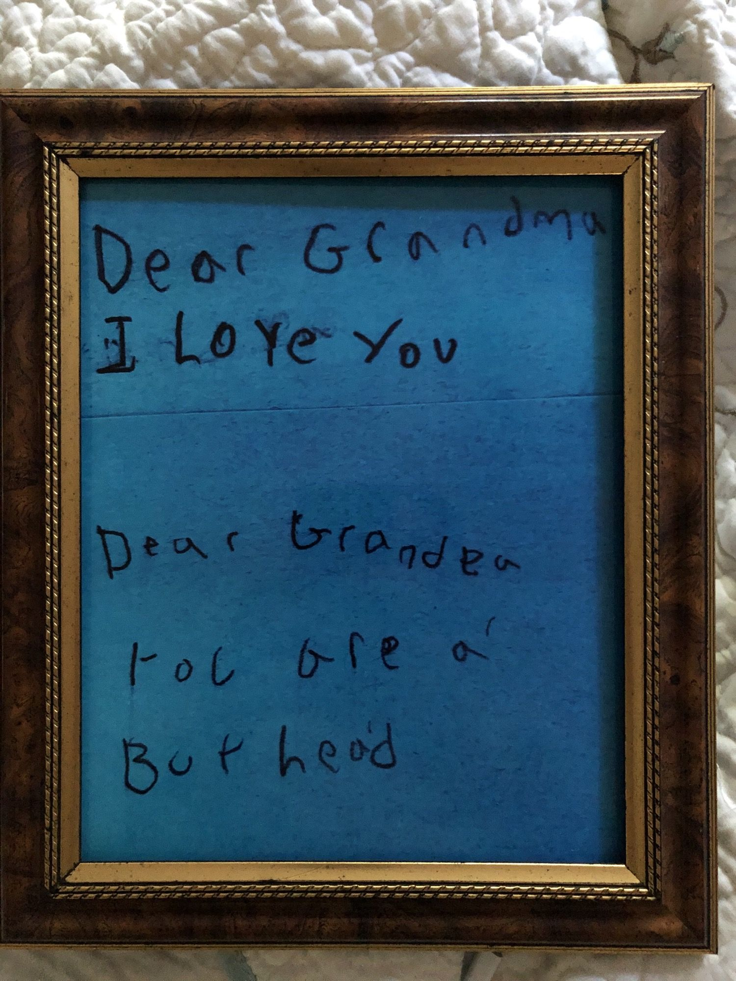 A love note from granddaughter to grandfather