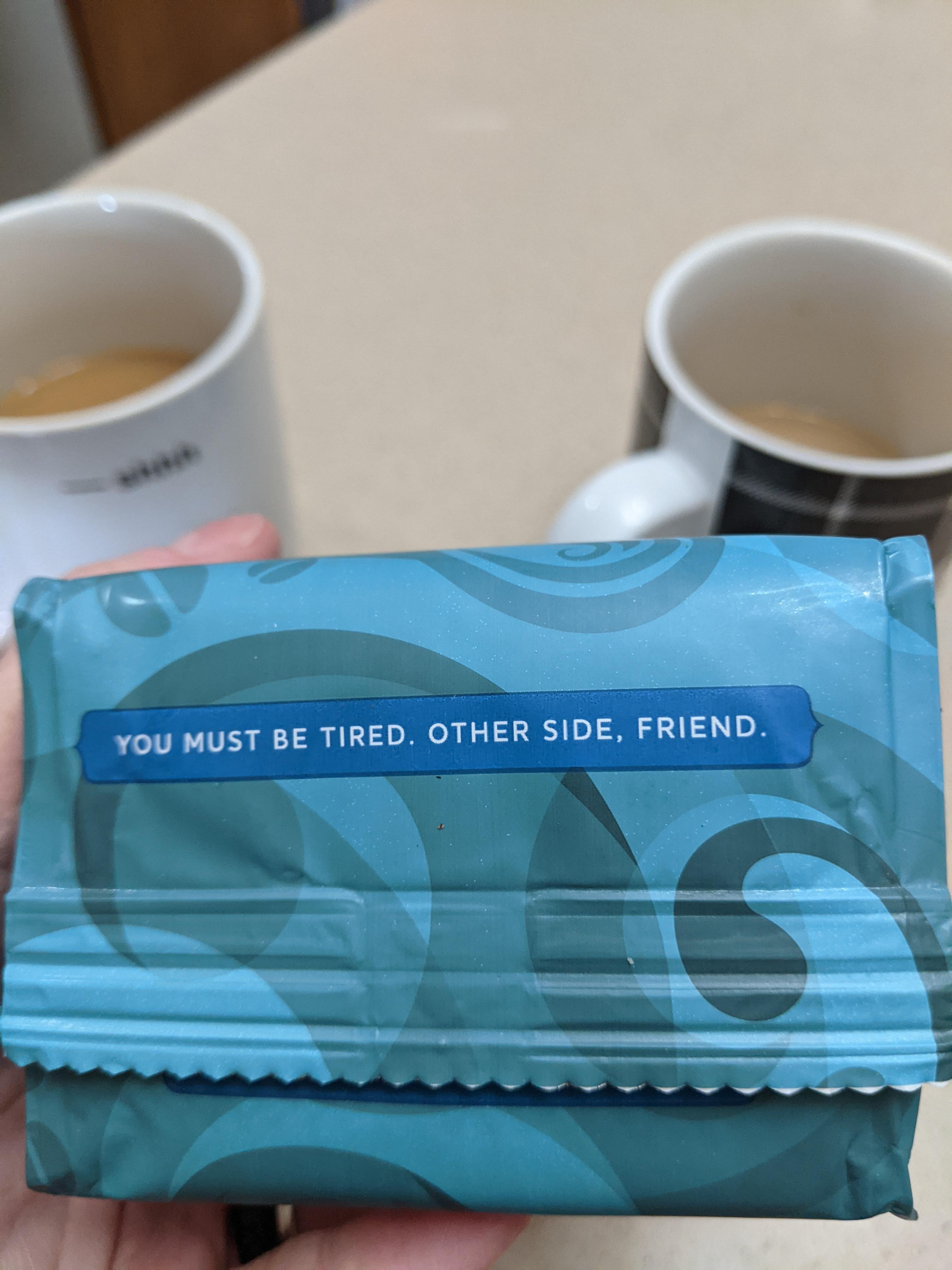 On the bottom of my coffee bag