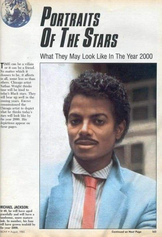 An artist in the 80's was commissioned to depict what he thought some stars of the time would look like in the year 2000. You can't get everything right..
