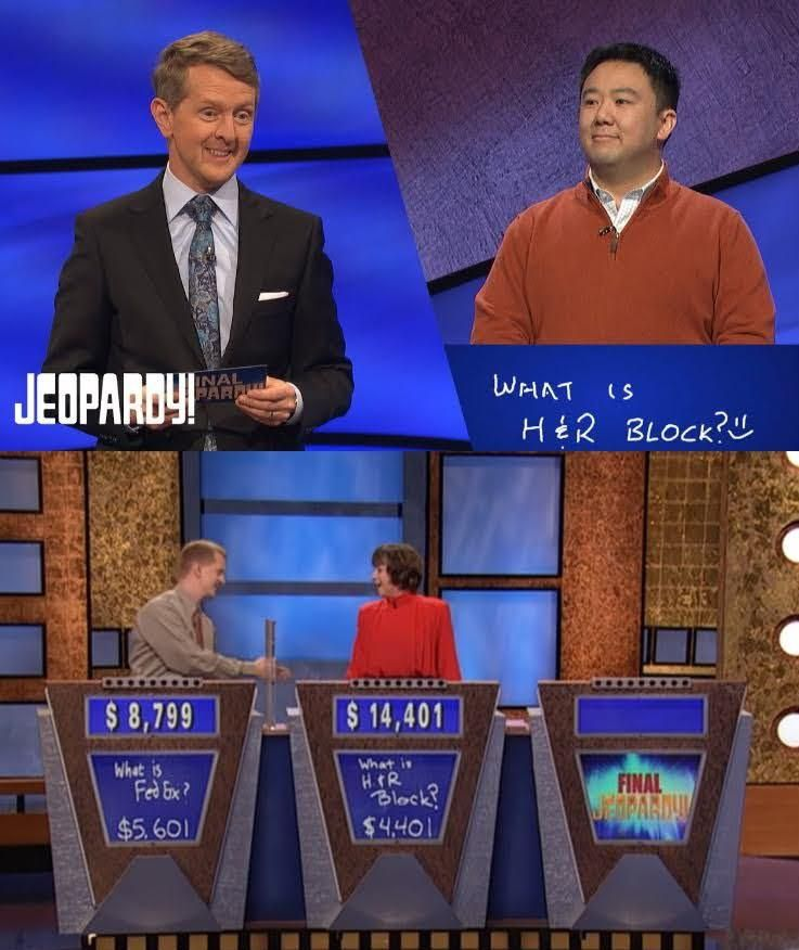 Jeopardy! contestant teases legend Ken Jennings by jokingly writing the incorrect response of H&R Block for Final Jeopardy. H&R Block was the answer that ended Jennings' 74-game winning streak.