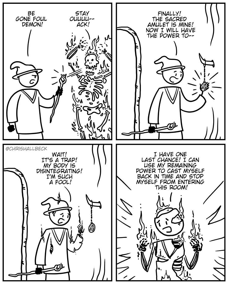 Fighting demons.