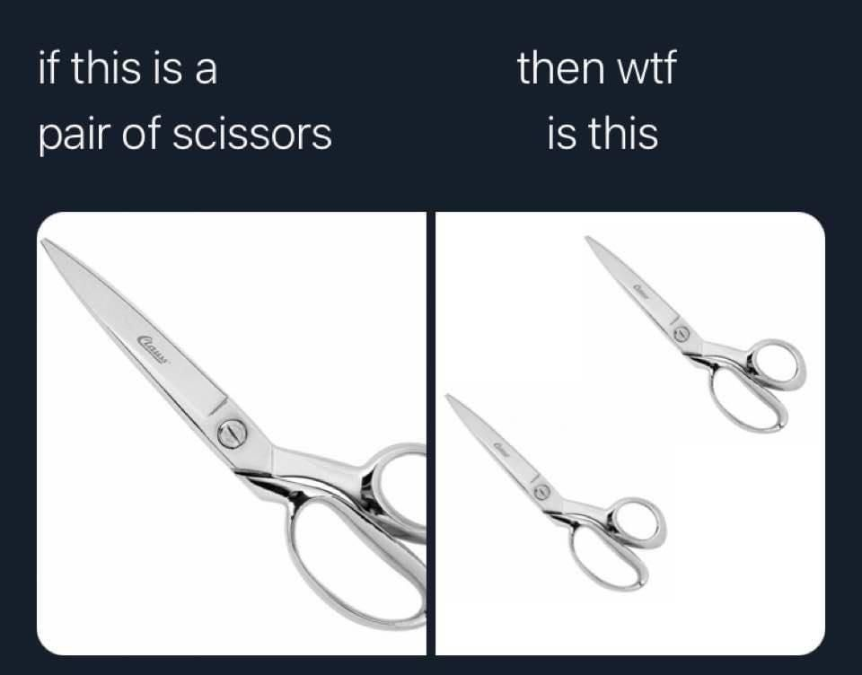 A pair pair of scissors? A set pair of scissors? A couple pair of scissors?