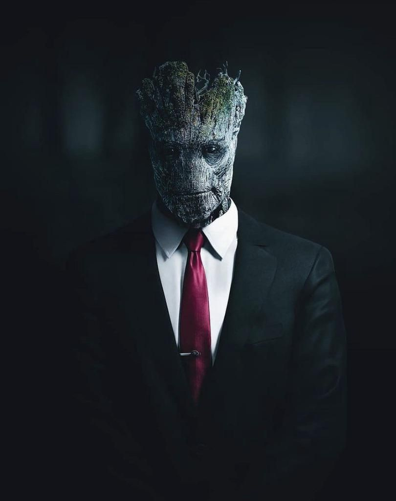 Groot in a suit