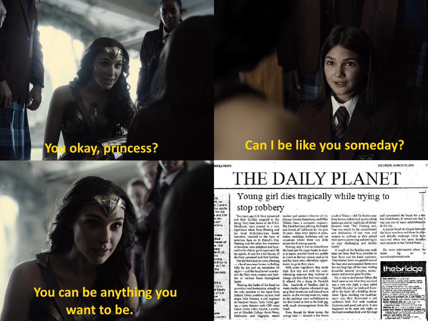 Diana needs to remember that she has a few advantages as a literal demigod.