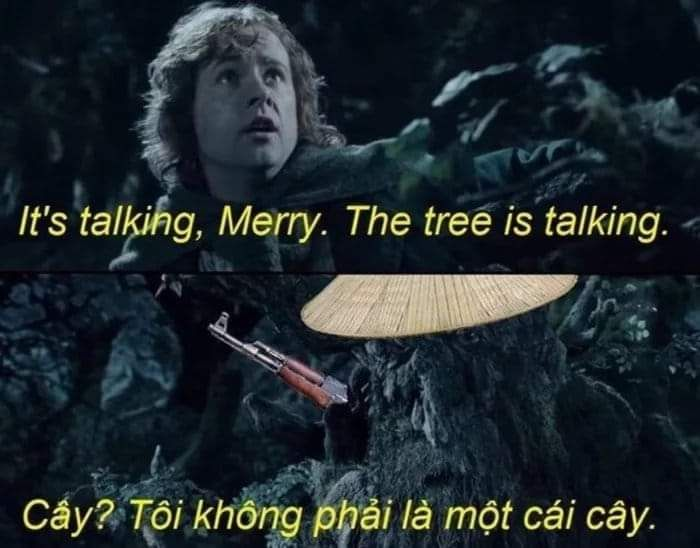 The hobbits stood no chance in the forest of Fangorn