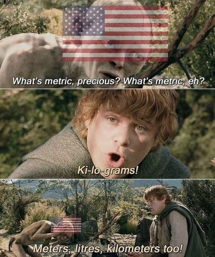 The USA rejects adopting the metric system