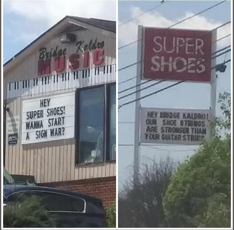 A local music store in my town has had this sign up for a few days. The shoe store across the street finally replied