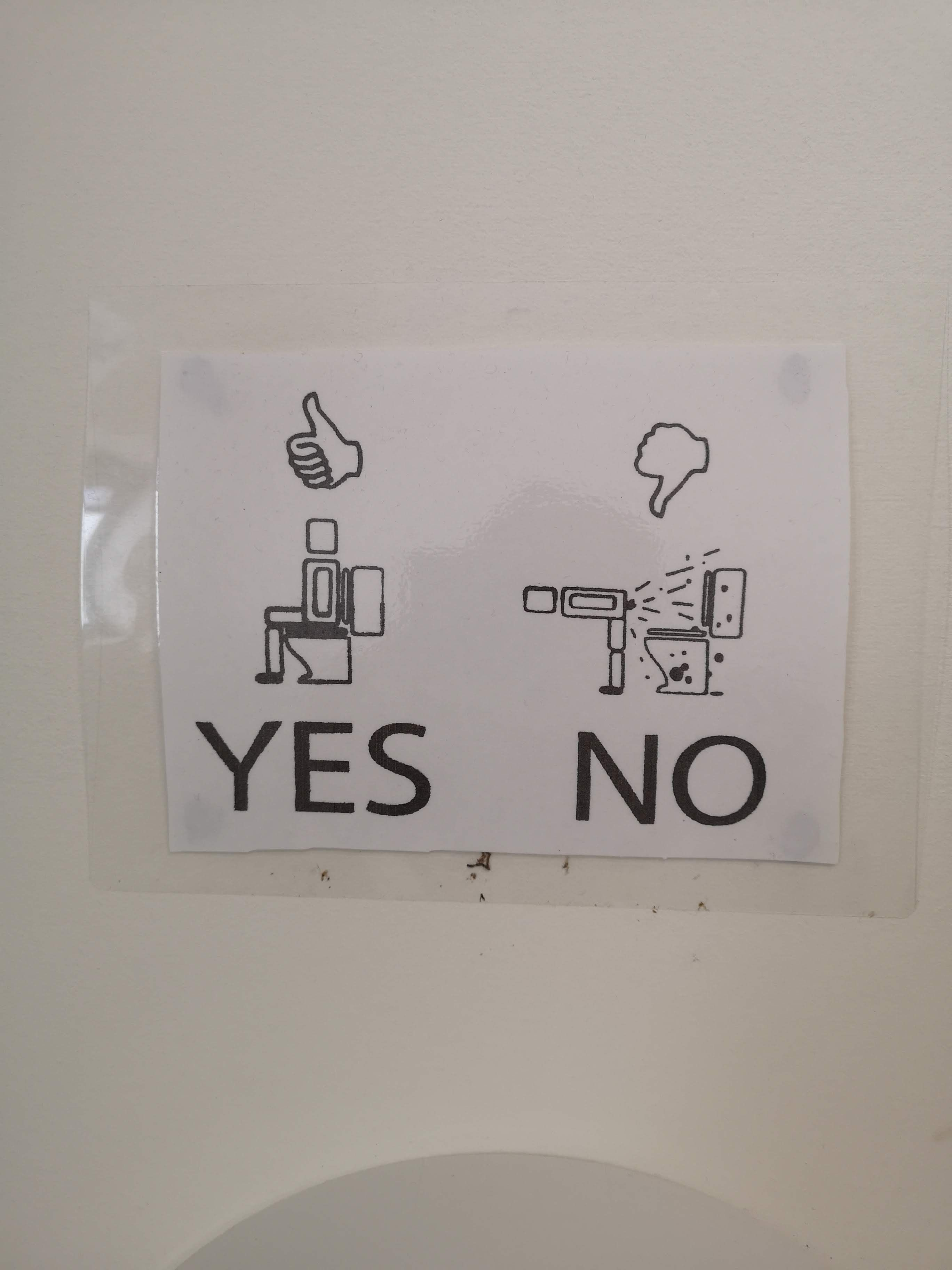 Instructions on how to use the toilet in my office