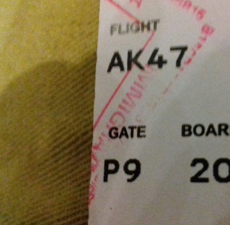 Today, my flight number is AK-47 which departs from gate P9