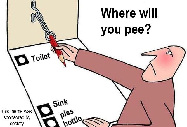 whats even point of peeing if its not into the sink?