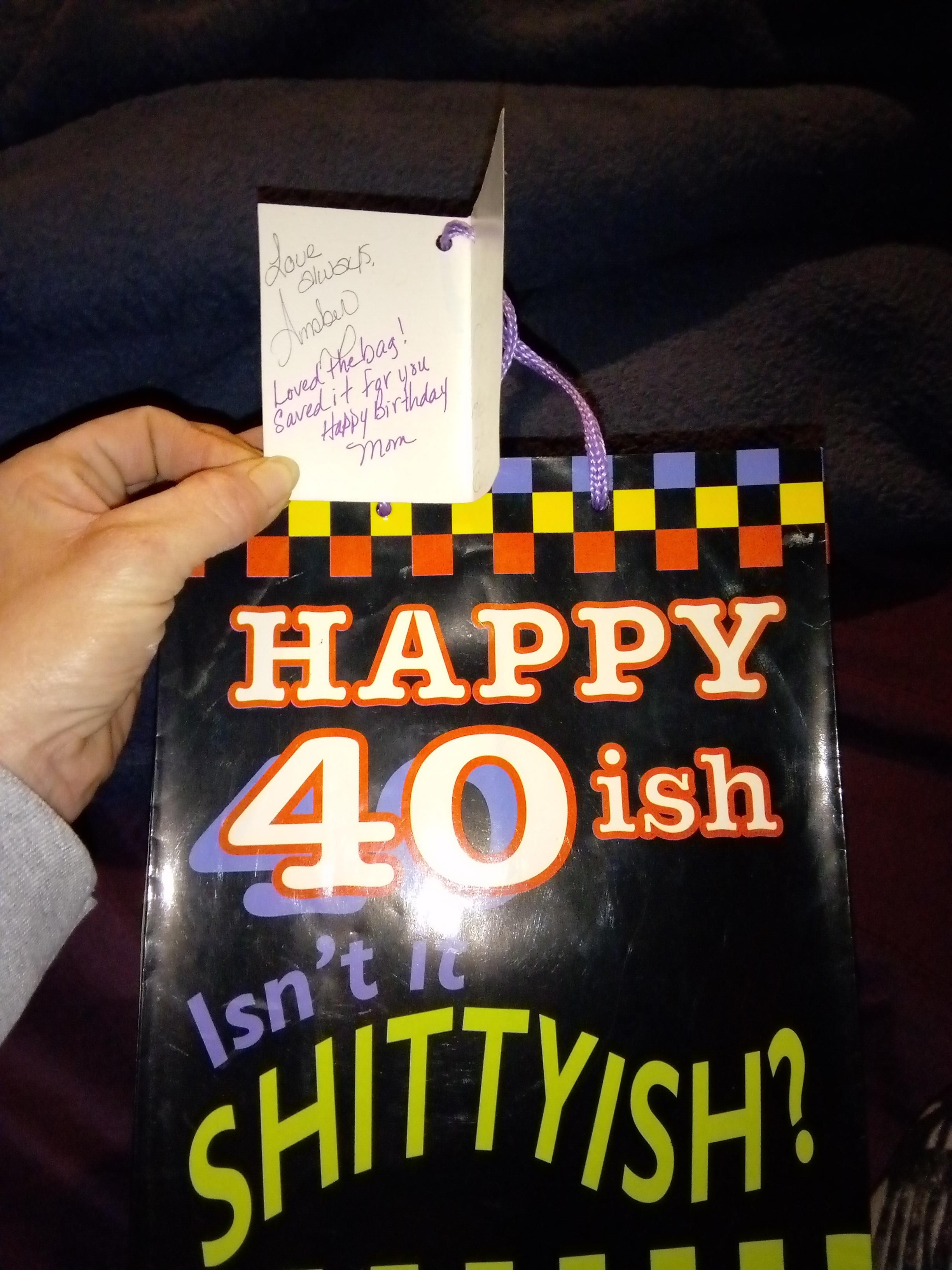 I gave this bag to my mom for her 40th birthday, she saved it 24 years to give me on my 40th.