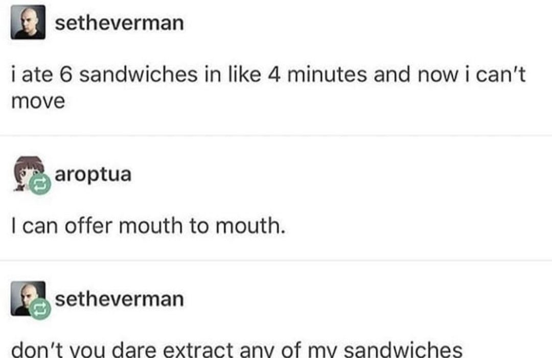 Do not touch sandwiches