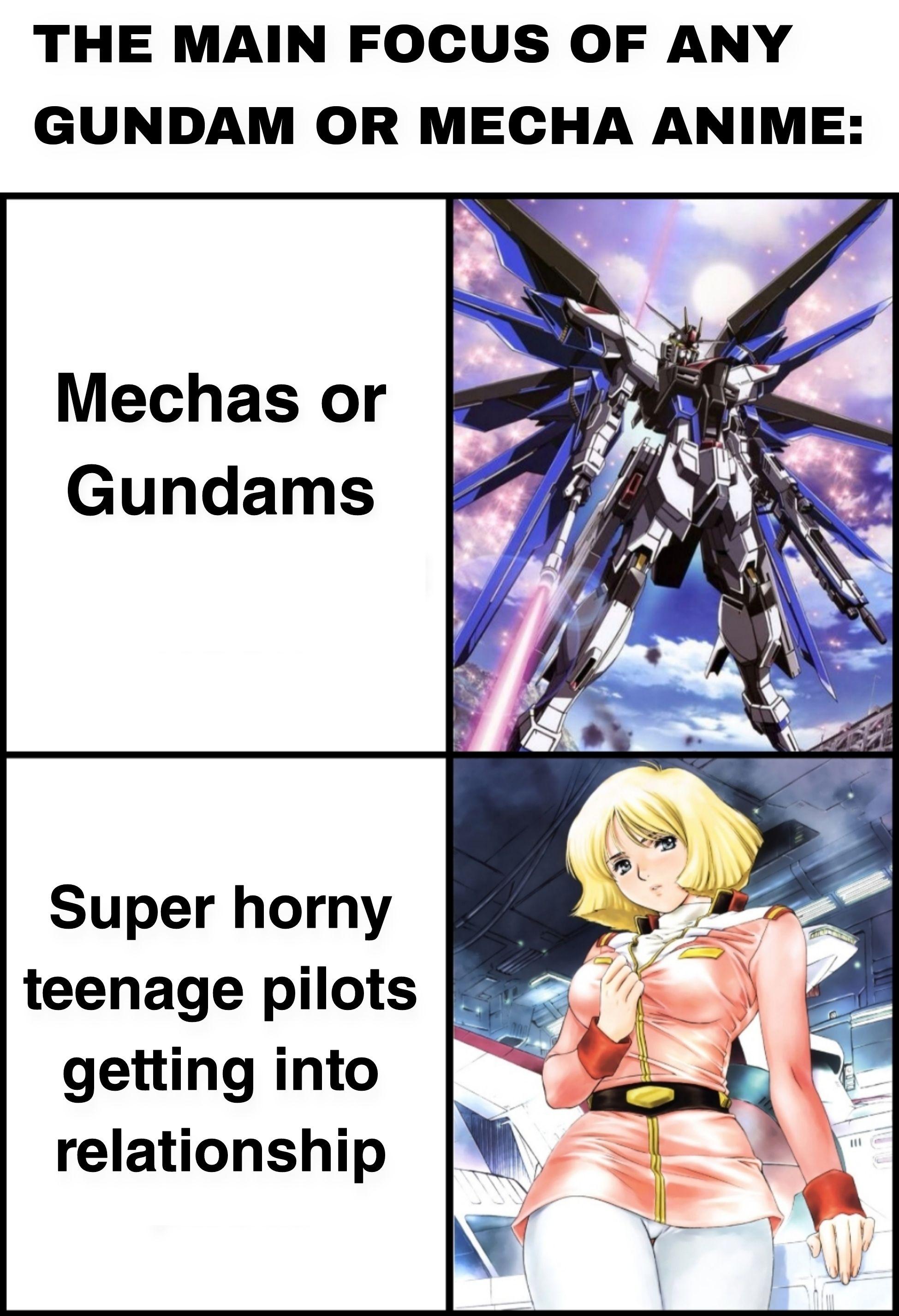 Basically DiTF, Evangelion and Gundam Seed